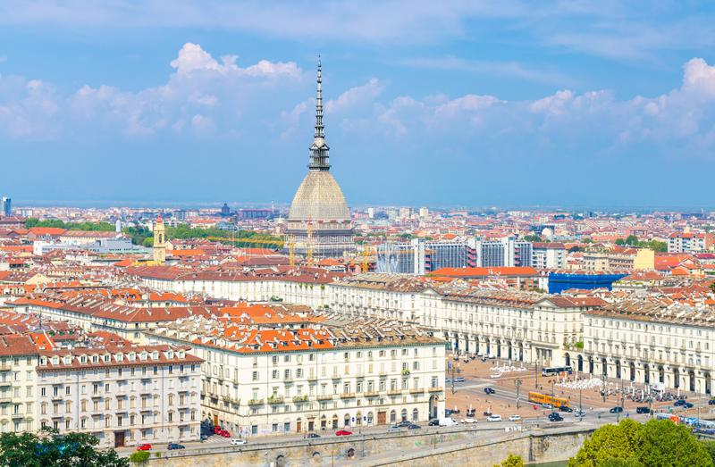 Aerial top panoramic view of Turin city center skyline with Piazza Vittorio Veneto square stock photography