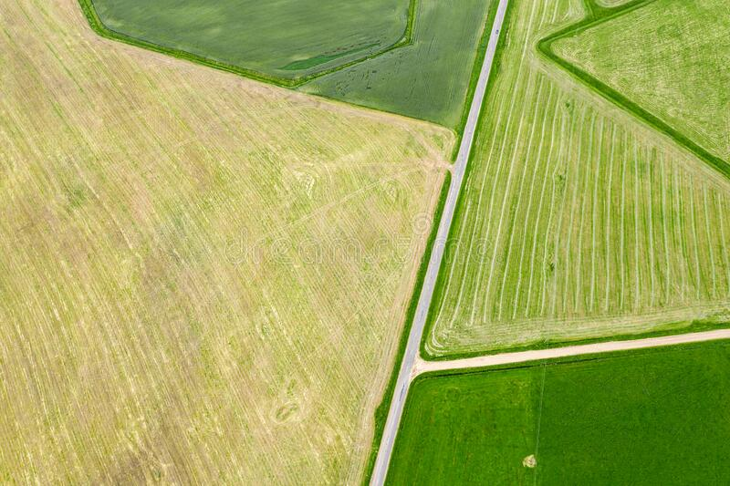 Aerial top view of agricultural fields with different crops royalty free stock photo
