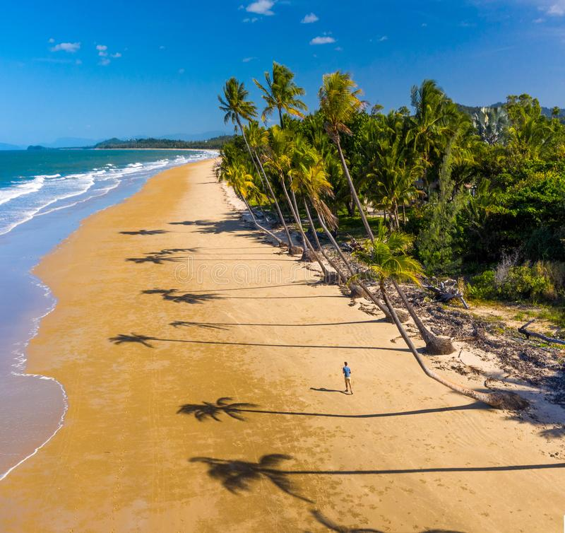 Aerial top view of beach with white sand, beautiful palm trees and warm turquoise tropical water royalty free stock image