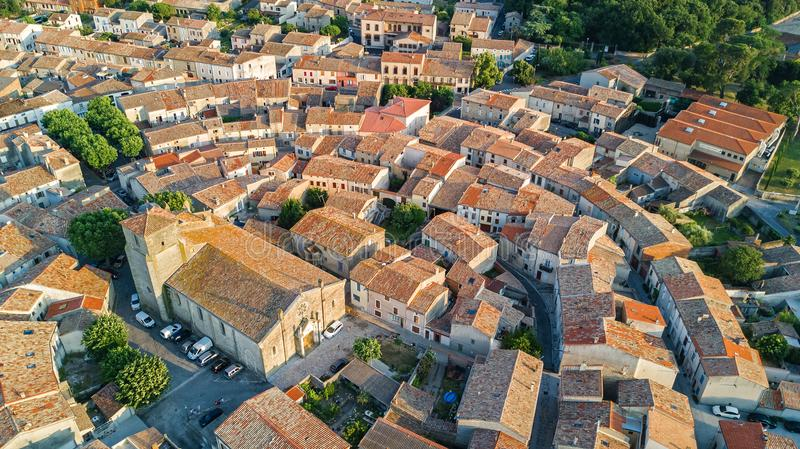 Aerial top view of Bram medieval village architecture and roofs from above, France royalty free stock photo