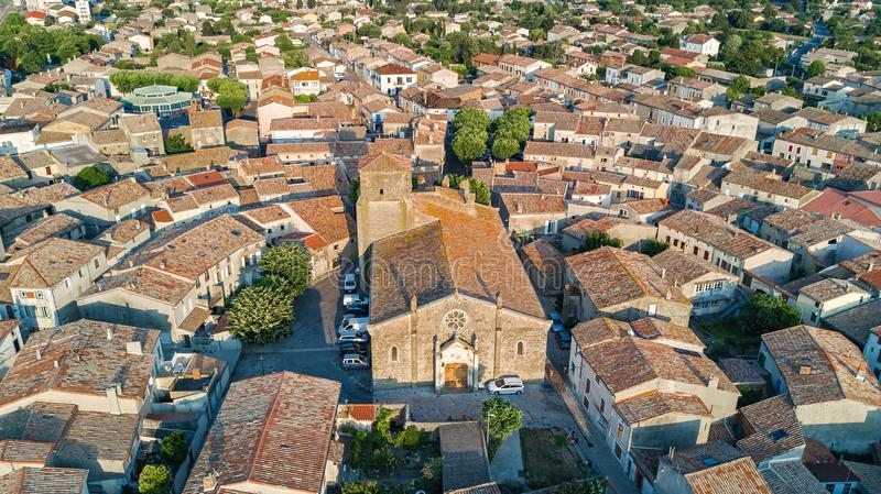 Aerial top view of Bram medieval village architecture and roofs from above, France. Aerial top view of Bram medieval village architecture and roofs from above stock photo