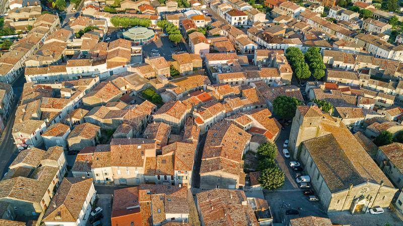Aerial top view of Bram medieval village architecture and roofs from above, France. Aerial top view of Bram medieval village architecture and roofs from above royalty free stock photo
