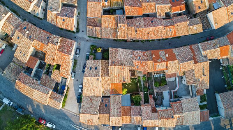 Aerial top view of Bram medieval village architecture and roofs from above, France. Aerial top view of Bram medieval village architecture and roofs from above stock image