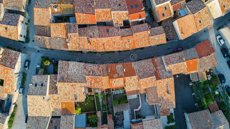Aerial top view of Bram medieval village architecture and roofs from above, France. Aerial top view of Bram medieval village architecture and roofs from above royalty free stock images
