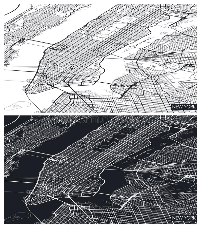 Aerial top view city map New York, black and white detailed plan, urban grid in perspective, vector illustration vector illustration