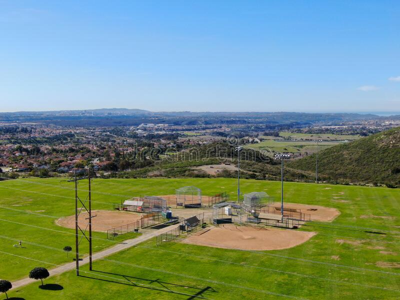 Aerial top view of Community park baseball sports field. Black Mountain Ranch Park, San Diego, USA royalty free stock photo