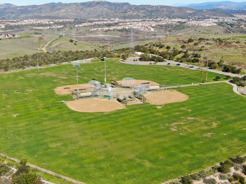 Aerial top view of Community park baseball sports field. Black Mountain Ranch Park, San Diego, USA stock photo