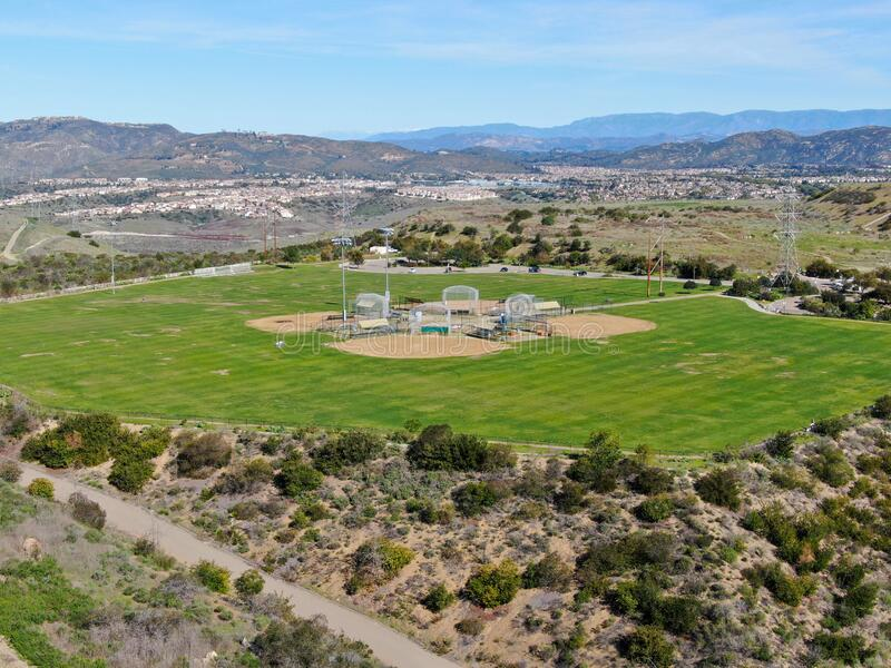 Aerial top view of Community park baseball sports field. Black Mountain Ranch Park, San Diego, USA stock photos