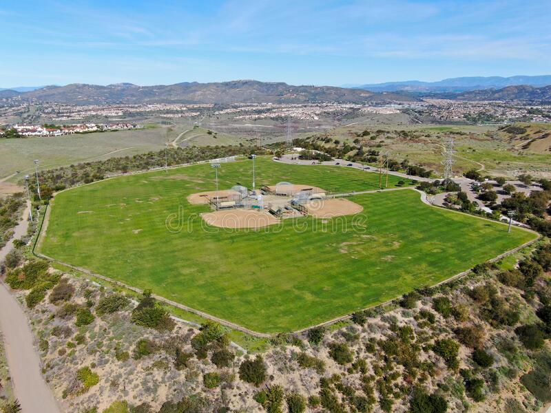 Aerial top view of Community park baseball sports field. Black Mountain Ranch Park, San Diego, USA royalty free stock photos