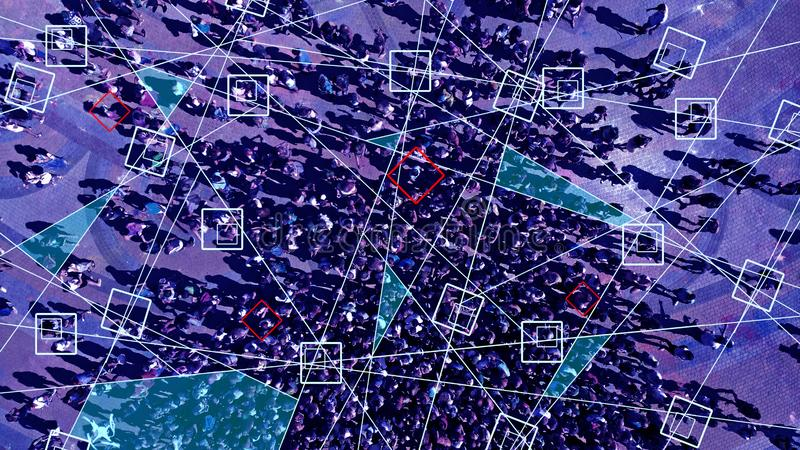 Aerial. Crowd of people. Deep learning and intelligence concept. Aerial top view of a crowd people at the square. Deep learning and intelligence concept stock photo