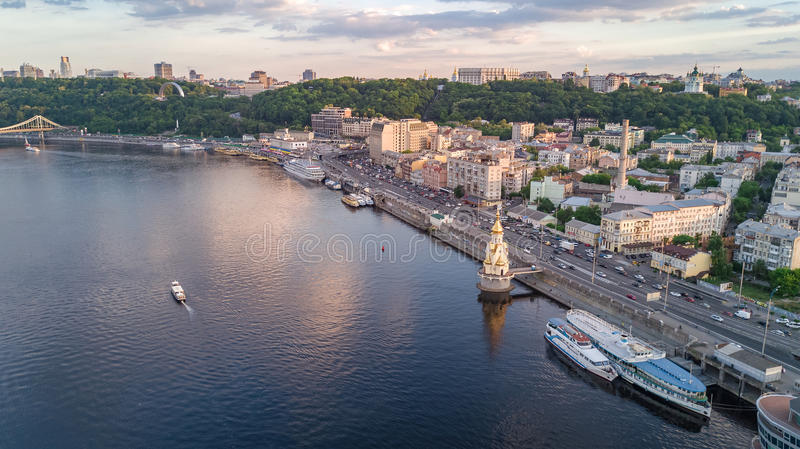 Aerial top view of Dnepr river and Podol district from above, Kiev Kyiv city. Ukraine royalty free stock photos