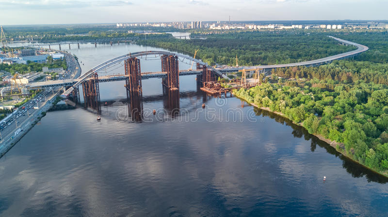 Aerial top view of Dnepr river and Truchaniv island from above, Kiev city. Ukraine royalty free stock photography