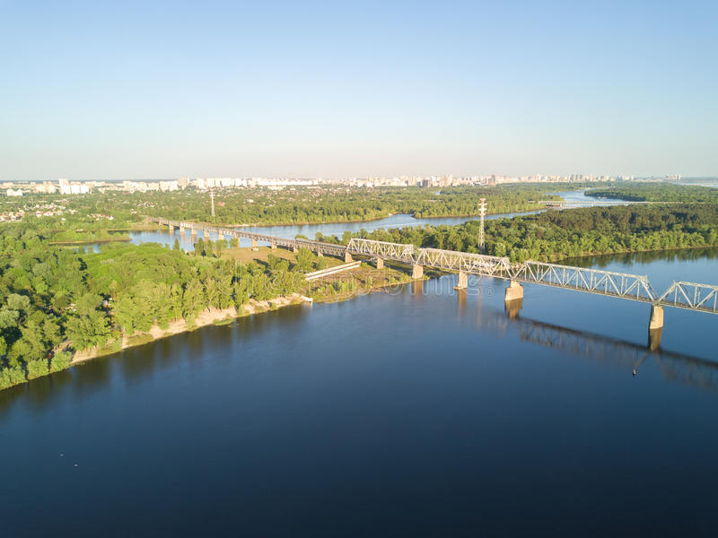 Aerial top view of Dnepr river and Truchaniv island from above, Kiev city stock images