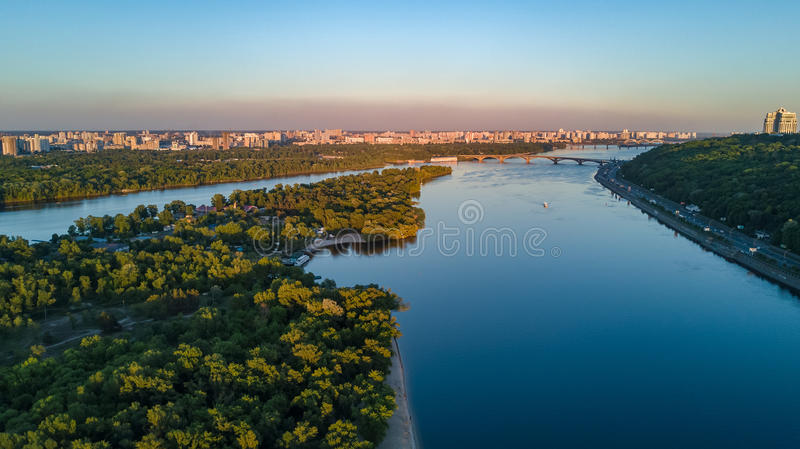 Aerial top view of Dnepr river and Truchaniv island from above, Kiev city. Ukraine stock photo