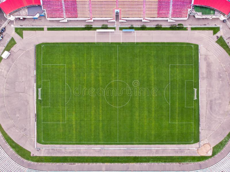 Aerial top view of empty football pitch stock photos