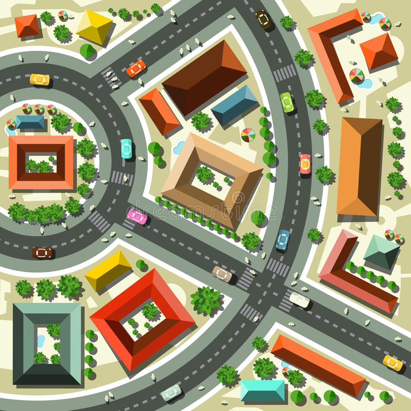 Aerial Top View Flat Design Vector Abstract City royalty free illustration