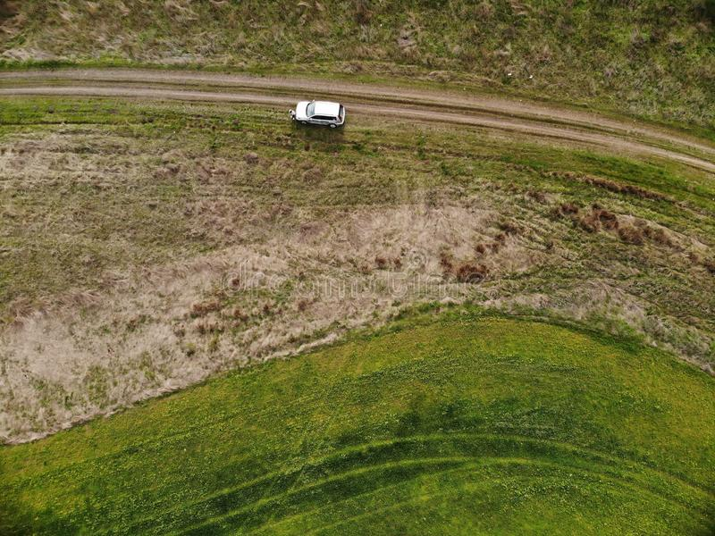 Drone Top View of Green Rape Seed Fields and a Car. Aerial Top View of Green Rape Seed Fields and a Car royalty free stock photos