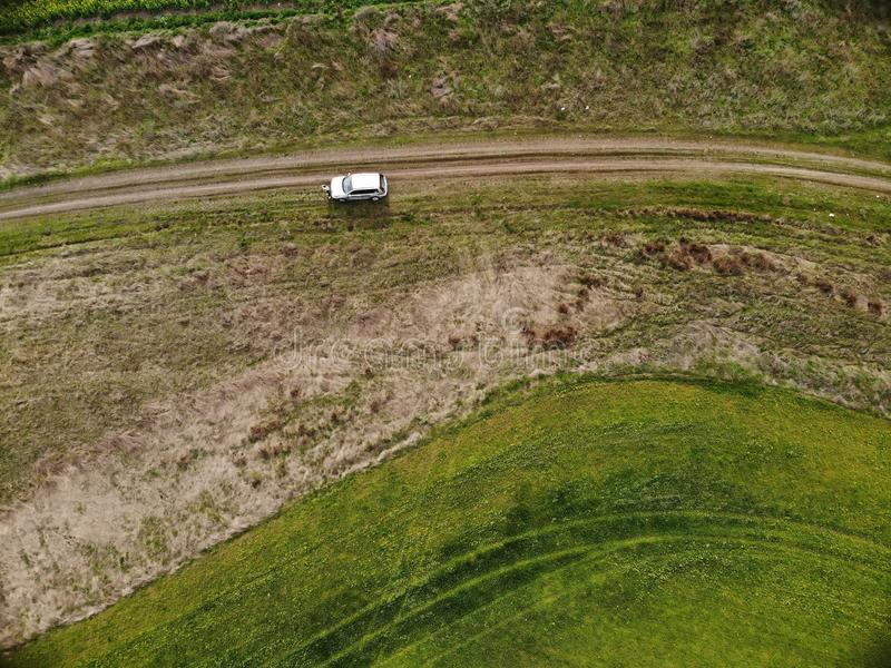 Drone Top View of Green Rape Seed Fields and a Car. Aerial Top View of Green Rape Seed Fields and a Car stock image