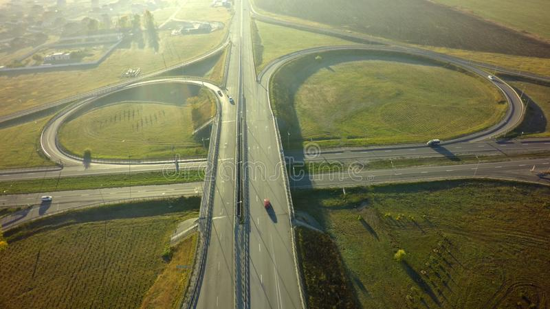 Aerial Top View of highway intersection junction summer morning stock photography