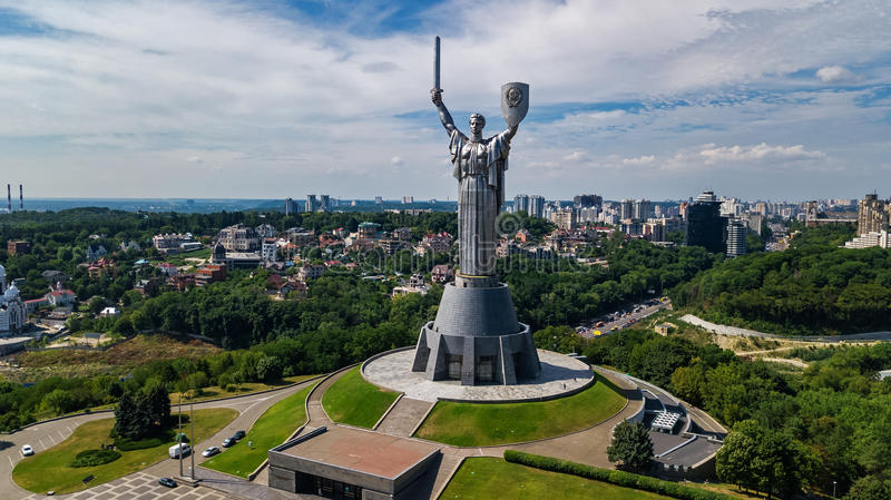 Aerial top view of Kiev Motherland statue monument on hills from above and cityscape, Kyiv, Ukraine stock images