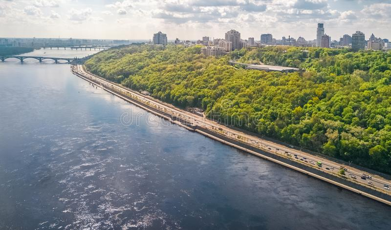Aerial top view of Kyiv hills and cityscape, Dnieper river and Truchaniv island, Kiev city skyline, Ukraine. Aerial top view of Kyiv hills and cityscape, Dnieper stock photo