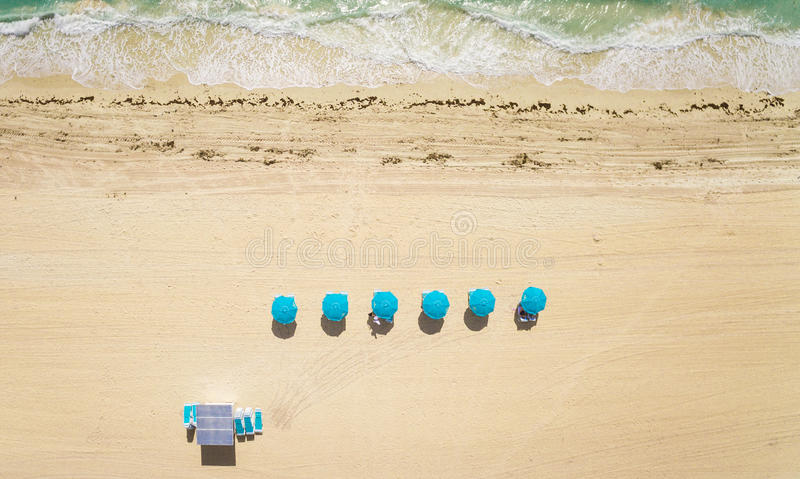 Aerial top view on the Miami beach. royalty free stock images