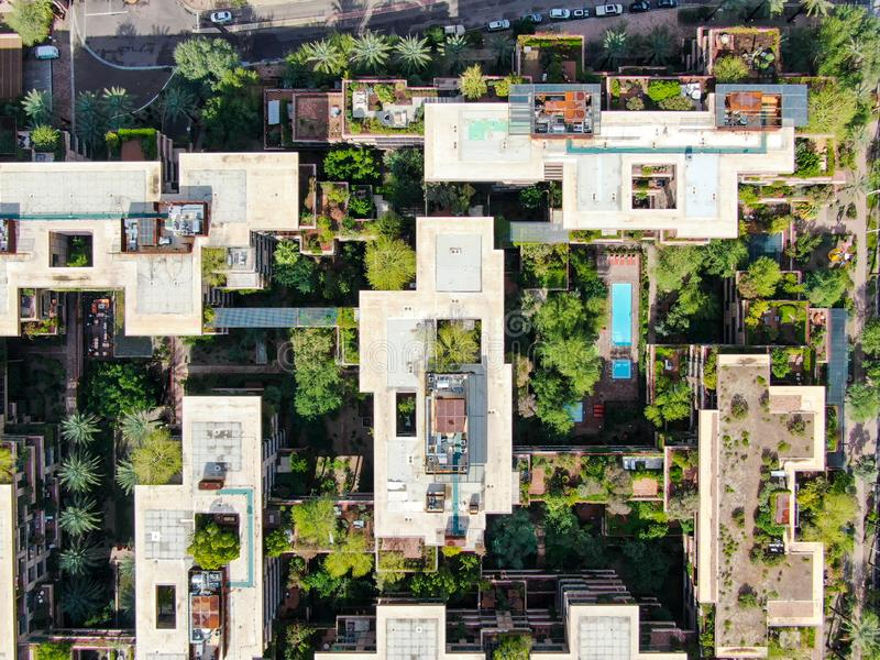 Aerial top view of modern building in Scottsdale desert city in Arizona east of state capital Phoenix. Downtown`s Old Town Scottsdale royalty free stock photos