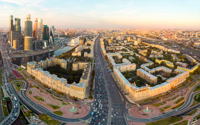 Aerial top view of road junction in Moscow from above, automobile traffic and jam of many cars, transportation concept royalty free stock image