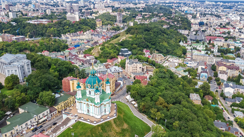 Aerial top view of Saint Andrew`s church and Andreevska street from above, Podol, city of Kiev Kyiv, Ukraine stock image