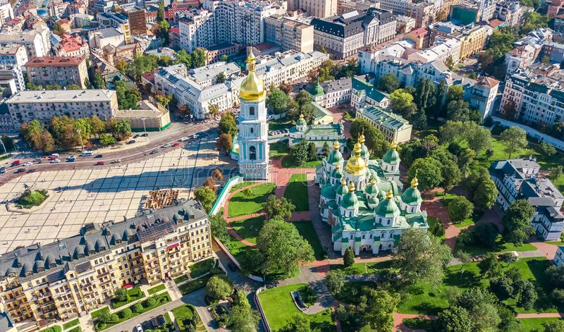 Aerial top view of St Sophia cathedral and Kiev city skyline from above, Kyiv cityscape, capital of Ukraine royalty free stock image