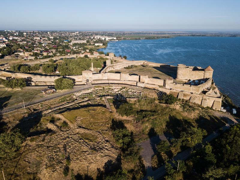 Aerial top view to Akkerman fortress which is on the bank of the Dniester estuary, in Odessa region. Aerial view on citadel of ancient fortress Akkerman which is royalty free stock photo