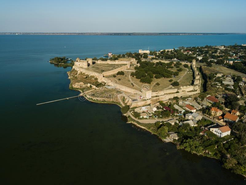 Aerial top view to Akkerman fortress which is on the bank of the Dniester estuary, in Odessa region. Aerial view on citadel of ancient fortress Akkerman which is stock photography