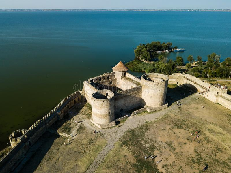Aerial top view to Akkerman fortress which is on the bank of the Dniester estuary, in Odessa region. Aerial view on citadel of ancient fortress Akkerman which is royalty free stock images