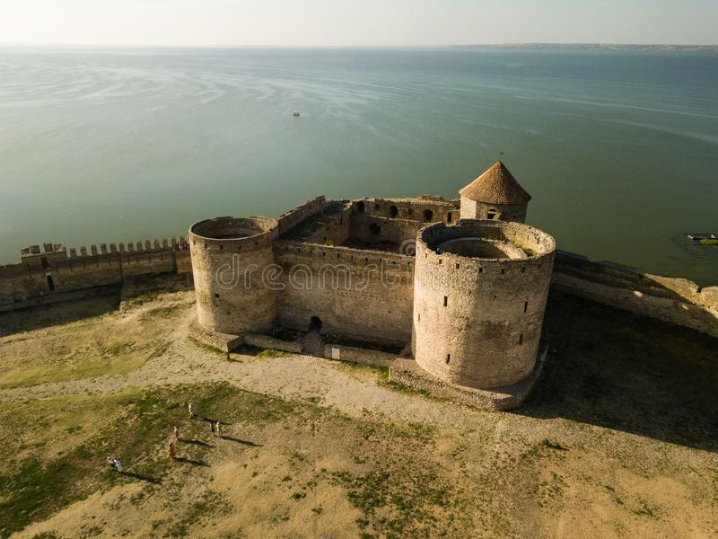 Aerial top view to Akkerman fortress which is on the bank of the Dniester estuary, in Odessa region. Aerial view on citadel of ancient fortress Akkerman which is royalty free stock photos