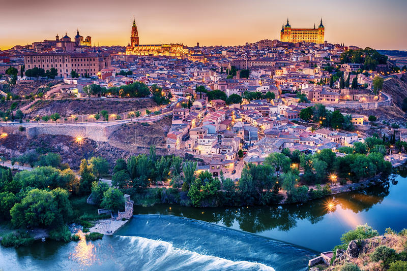 Aerial top view of Toledo, historical capital city of Spain. In sunset stock photography