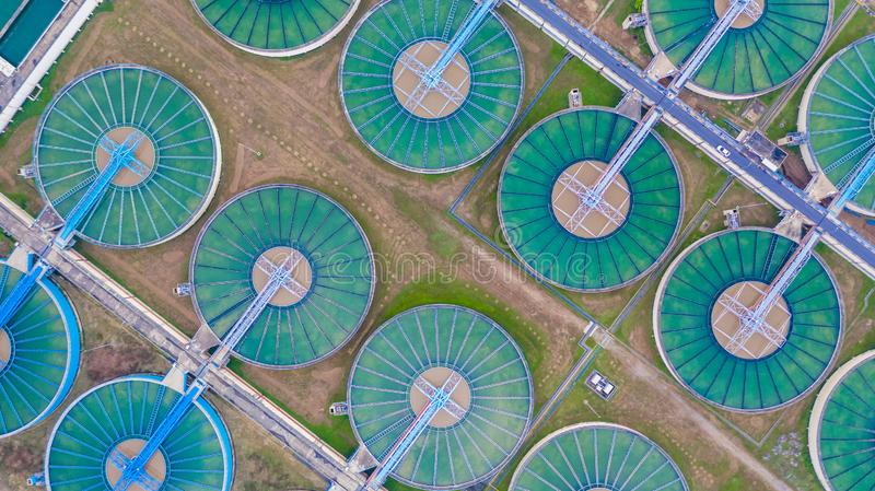 Aerial top view water treatment plant, Aerial top view recirculation solid contact clarifier sedimentation tank.  royalty free stock photo