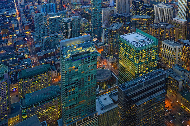 Aerial of Toronto buildings after sunset. An Aerial of Toronto buildings after sunset royalty free stock photos