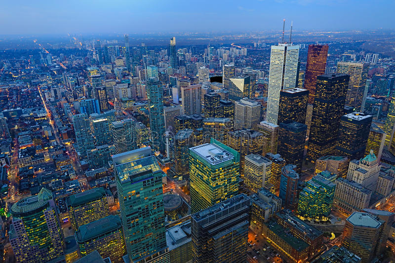 Aerial of Toronto buildings after sunset. An aerial of Toronto buildings after sunset stock images