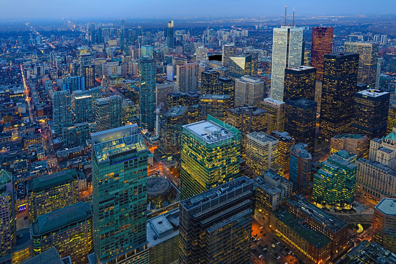 Aerial of Toronto buildings at sunset. An aerial of Toronto buildings at sunset royalty free stock photo
