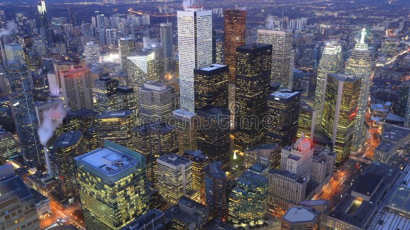 Aerial of Toronto, Canada city center after dark. An aerial of Toronto, Canada city center after dark royalty free stock photos
