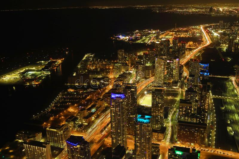 Aerial of Toronto, Canada expressway at night. An aerial of Toronto, Canada expressway at night royalty free stock image