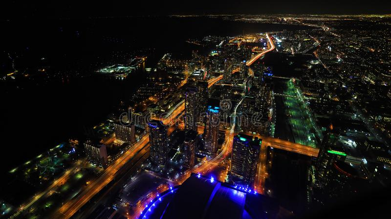 Aerial of Toronto, Canada at night. An aerial of Toronto, Canada at night royalty free stock photo