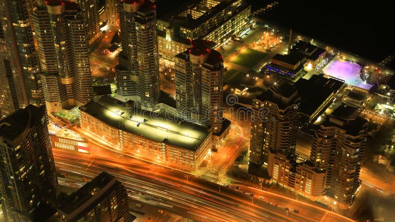 Aerial of Toronto city center after dark. An aerial of Toronto city center after dark stock photography