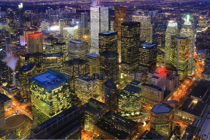 Aerial of Toronto city center at night. An aerial of Toronto city center at night royalty free stock photo