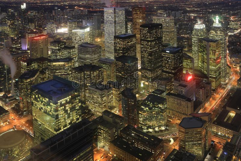 Aerial of Toronto cityscape at night. An aerial of Toronto cityscape at night royalty free stock images