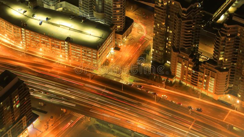 Aerial of Toronto expressway after dark. An aerial of Toronto expressway after dark stock photography