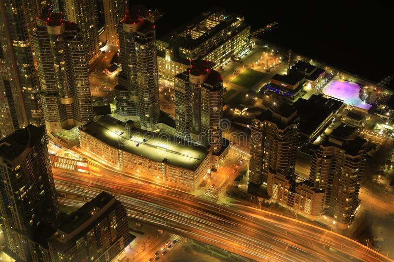 Aerial of Toronto expressway at night. An aerial of Toronto expressway at night royalty free stock photography