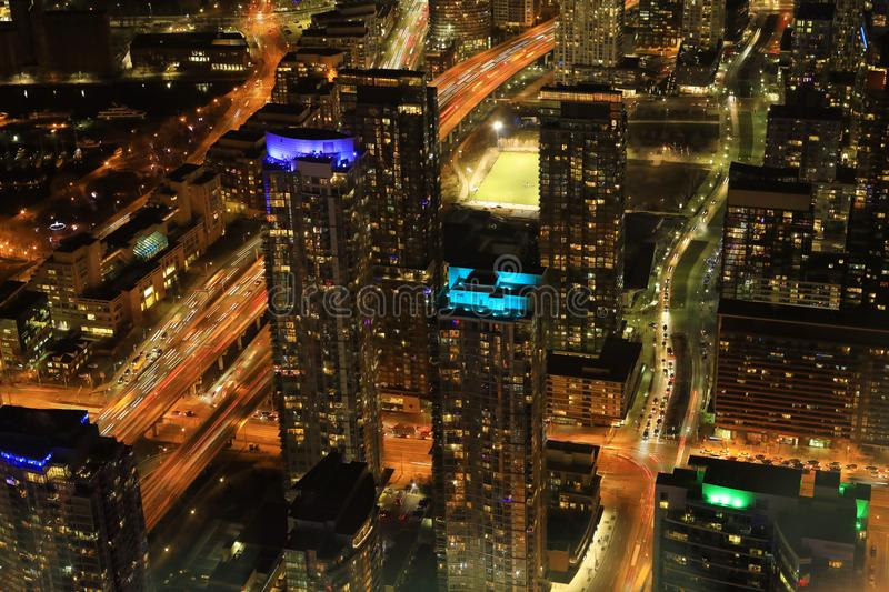 Aerial of Toronto highways at night. An aerial of Toronto highways at night royalty free stock photos