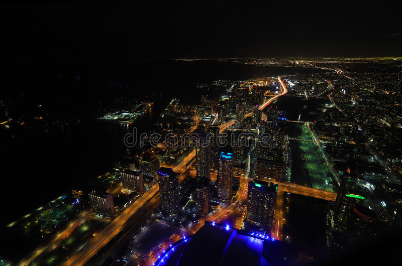 Aerial of Toronto Lakeshore at night. An Aerial of Toronto Lakeshore at night royalty free stock photos