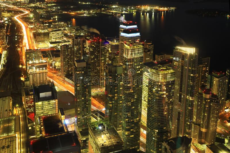 Aerial of Toronto lakeside at night. An aerial of Toronto lakeside at night stock photography
